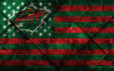 Minnesota Wild, 4k, American hockey club, grunge art, rhombus grunge texture, American flag, NHL, St Paul, Minnesota, USA, National Hockey League, USA flag, hockey