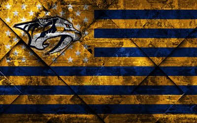 Nashville Predators, 4k, American hockey club, grunge art, rhombus grunge texture, American flag, NHL, Nashville, Tennessee, USA, National Hockey League, USA flag, hockey