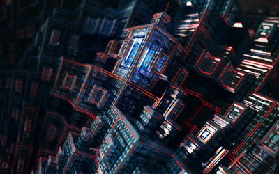 4k, fractals, cubes, artwork, 3d art, nightmare, abstract art, creative, fractal art