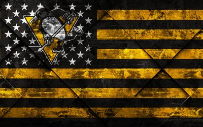 Pittsburgh Penguins, 4k, American hockey club, grunge art, rhombus grunge texture, American flag, NHL, Pittsburgh, Pennsylvania, USA, National Hockey League, USA flag, hockey