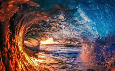 beautiful wave, sunset, water concepts, ocean wave, evening, water splash