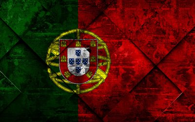 Flag of Portugal, grunge art, rhombus grunge texture, Portuguese flag, Europe, national symbols, Portugal, creative art