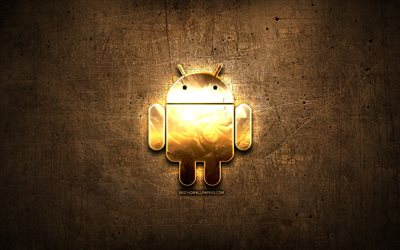 Android golden logo, artwork, brown metal background, creative, Android logo, brands, Android