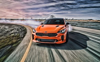 4k, Kia Stinger GTS, drift, 2019 cars, raceway, HDR, 2019 Kia Stinger, korean cars, Orange Stinger, KIA