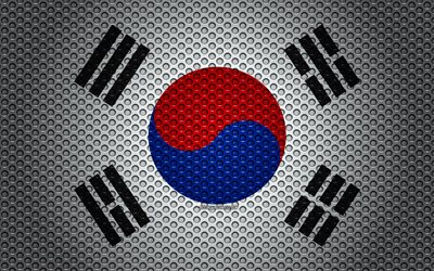Flag of South Korea, 4k, creative art, metal mesh texture, South Korea flag, national symbol, South Korea, Asia, flags of Asian countries