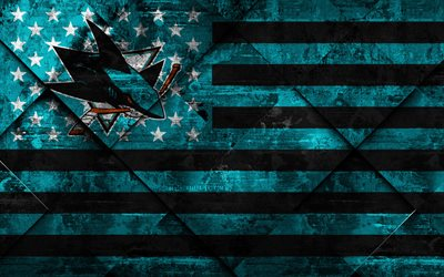 San Jose Sharks, 4k, American hockey club, grunge art, rhombus grunge texture, American flag, NHL, San Jose, California, USA, National Hockey League, USA flag, hockey