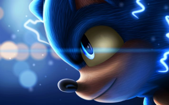 Download Wallpapers Sonic Close Up Sonic The Hedgehog 3d Art 2020 Movie Poster Blue Sonic For Desktop Free Pictures For Desktop Free