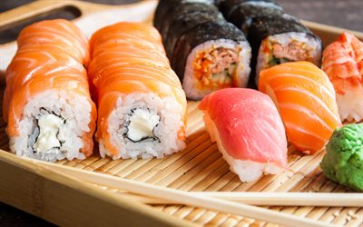 4k, makizushi, rolls with salmon, nagiri, sushi, asian food, bokeh, fastfood, sushi set