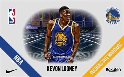 Kevon Looney, Golden State Warriors, Giocatore di Basket Americano, NBA, ritratto, stati UNITI, basket, Caccia Center, Golden State Warriors logo