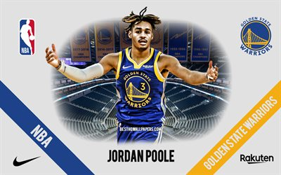 Jordan Poole, Golden State Warriors, Giocatore di Basket Americano, NBA, ritratto, stati UNITI, basket, Caccia Center, Golden State Warriors logo