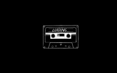 tape cassette, loading concepts, black background, loading, creative art