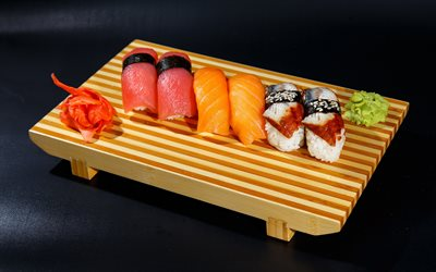 nigiri set, sushi, asian food, nigiri, fastfood, sushi set, fruit sushi