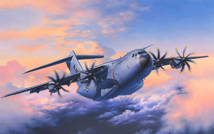 Airbus A400M Atlas, artwork, USAF, US army, Airbus A400M, transport aircraft, Airbus Military, United States Air Force, Military aircraft, Airbus
