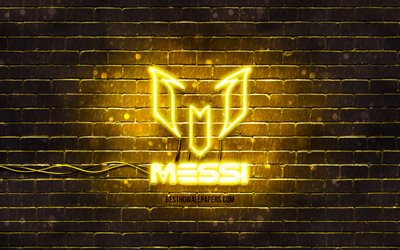 Lionel Messi yellow logo, 4k, yellow brickwall, Leo Messi, fan art, Lionel Messi logo, football stars, Lionel Messi neon logo, Lionel Messi
