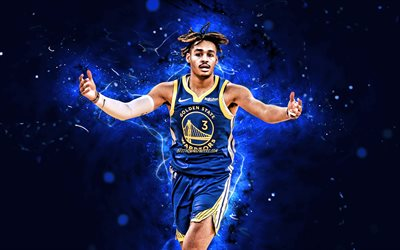 4k, Giordania Poole, nel 2020, NBA, Golden State Warriors, basket, Giordano Antonio Poole, creativo, luci al neon, Giordania Poole Golden State Warriors, Giordania Poole 4K