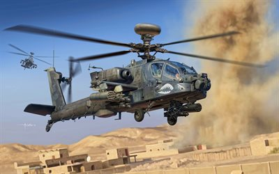 Boeing AH-64 Apache, 4k, artwork, combat helicopter, US Army, combat aircraft, military helicopters, AH-64 Apache, US Air Force