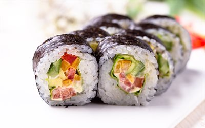 Maki, macro, asian food, sushi, fastfood, bokeh