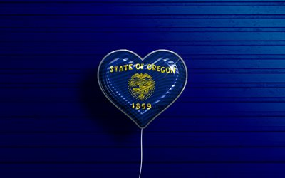 I Love Oregon, 4k, realistic balloons, blue wooden background, United States of America, Oregon flag heart, flag of Oregon, balloon with flag, American states, Love Oregon, USA