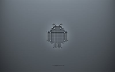 Android logo, gray creative background, Android emblem, gray paper texture, Android, gray background, Android 3d logo