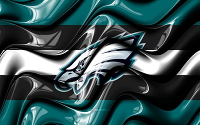 Philadelphia Eagles flag, 4k, green and black 3D waves, NFL, american football team, Philadelphia Eagles logo, american football, Philadelphia Eagles