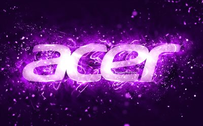 Acer violet logo, 4k, violet neon lights, creative, violet abstract background, Acer logo, brands, Acer