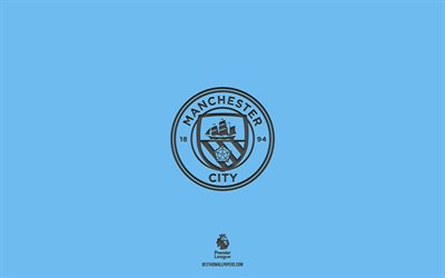 Manchester City FC, blue background, English football team, Manchester City FC emblem, Premier League, England, football, Manchester City FC logo