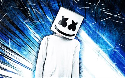4k, DJ Marshmello, blue abstract rays, Fortnite Battle Royale, Fortnite characters, Marshmello Skin, blue abstract background, Marshmello, grunge art, Fortnite, Marshmello Fortnite