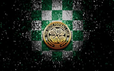Celtic FC, glitter logo, Scottish Premiership, green white checkered background, soccer, scottish football club, Celtic logo, mosaic art, football, FC Celtic