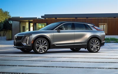 2023, Cadillac Lyriq, 4k, front view, exterior, luxury SUV, new silver Lyriq, American cars, Cadillac