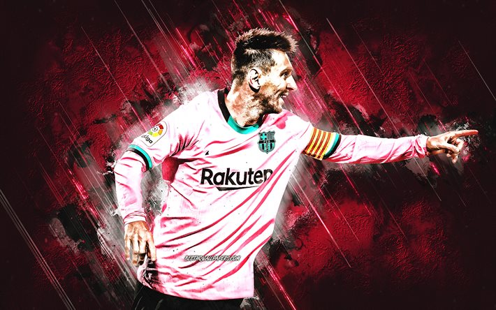 Lionel Messi, FC Barcelona, Argentinian footballer, pink stone background, La Liga, football, Spain, world football stars
