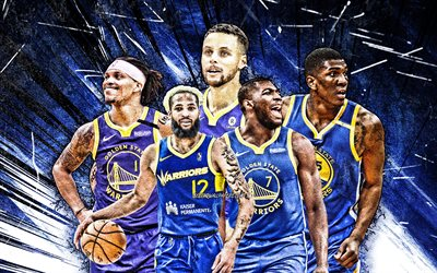 4k, Damion Lee, Eric Paschall, Ky Bowman, Stephen Curry, Kevon Looney, grunge art, Golden State Warriors, basketball, NBA, Golden State Warriorsteam, blue abstract rays, basketball stars