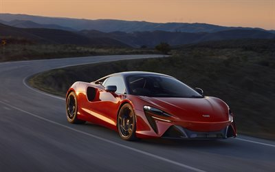 McLaren Artura, 2022, front view, red sports coupe, new red Artura, British supercars, McLaren