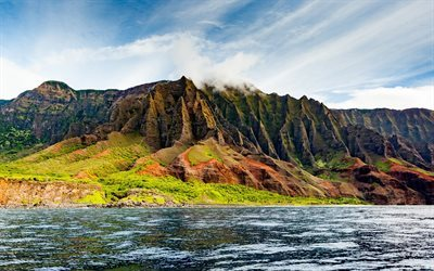 Na Pali Coast State Park, Pacific Ocean, mountains, Hawaiian island, USA