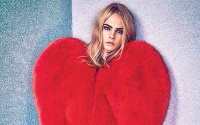 Cara Delevingne, Red heart, british top model, blond, beautiful young woman