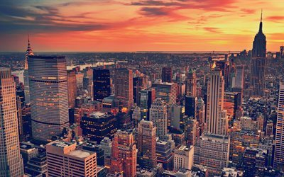 New York, 4k, sunset, Empire State Building, kväll, Manhattan, USA, skyskrapor