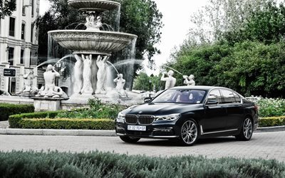 BMW 7, 2017, G11, Sedan, black bmw, 7-Series, luxury cars, bmw