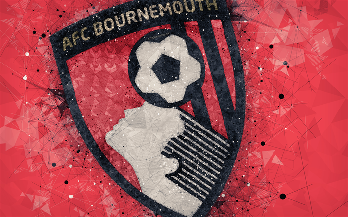 Download Wallpapers AFC Bournemouth, 4k, Logo, Geometric