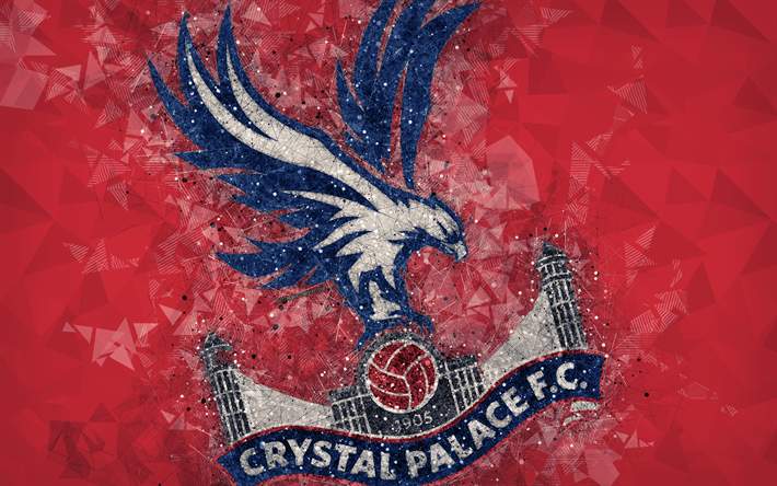 Download Wallpapers Crystal Palace FC, 4k, Logo, Geometric