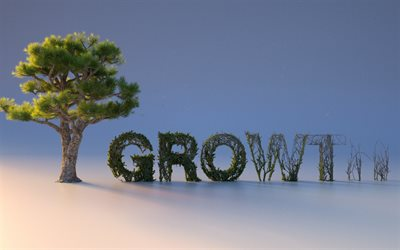 growth concepts, creative 3D letters, business concepts, trees, bushes