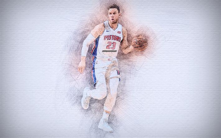 Blake Griffin, 4k, artwork, basketball stars, Detroit Pistons, NBA, basketball