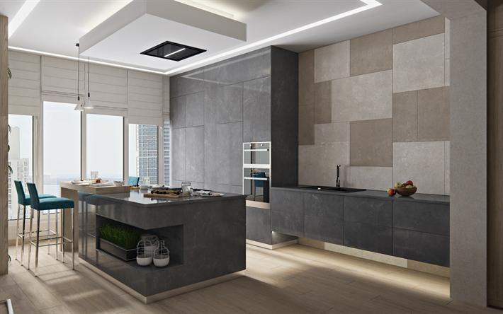 Cucina Soffitti Alti : Scarica sfondi elegante grigio cucina open space soffitti alti