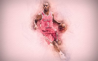 Chris Paul, 4k, stars du basket-ball, les illustrations, les Rockets de Houston, NBA, basket-ball, dessin de Chris Paul