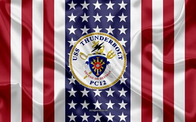 USS Thunderbolt Emblem, PC-12, American Flag, US Navy, USA, USS Thunderbolt Badge, US warship, Emblem of the USS Thunderbolt