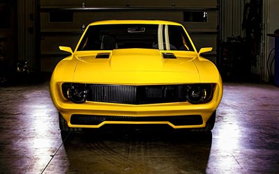 Chevrolet Camaro, tuning, 1965 cars, supercars, retro cars, yellow Camaro, muscle cars, 1965 Chevrolet Camaro, american cars, Chevrolet