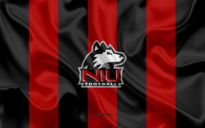 Northern Illinois Husky, squadra di football Americano, emblema, seta, bandiera, rosso-nero, in seta, texture, NCAA, Northern Illinois Husky logo, DeKalb, Illinois, stati UNITI, football Americano