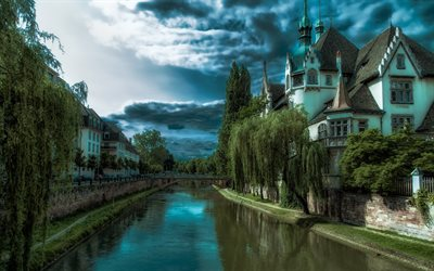 Strasbourg, 4k, french cities, water channel, France, Europe, HDR