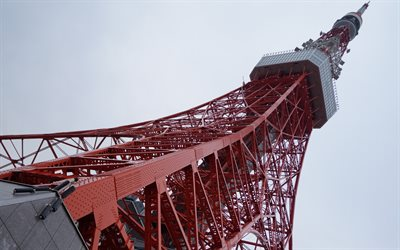 Tokyo Tower, observation tower, blue sky, landmark, Minato, Tokyo, Japan, Communications tower, Japan Radio Tower