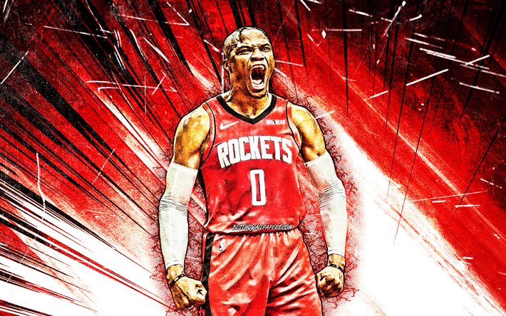 Russell Westbrook, rouge, abstrait rayons, Houston Rockets, 4k, NBA, grunge art, stars du basket-ball, Russell Westbrook III, basket-ball, etats-unis, Russell Westbrook Houston Rockets, créatif, Russell Westbrook 4K