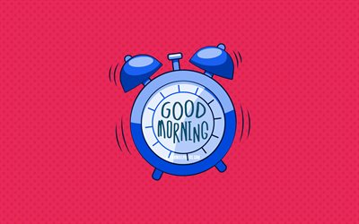 Good Morning, blue alarm clock, 4k, pink dotted backgrounds, good morning wish, creative, good morning concepts, minimalism, good morning with clock