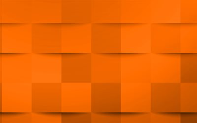 Orange 3d squares texture, Orange creative texture, Orange 3d abstraction, Orange 3d background, Orange mosaic texture
